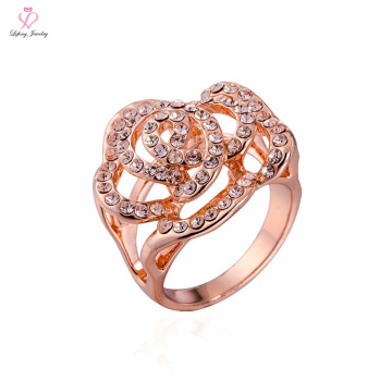 Dubai Light Weight Setting Without Stone Crown Gold Ring, 1 2 3 Gram Design Fancy Flower Shape Rose Gold Ring